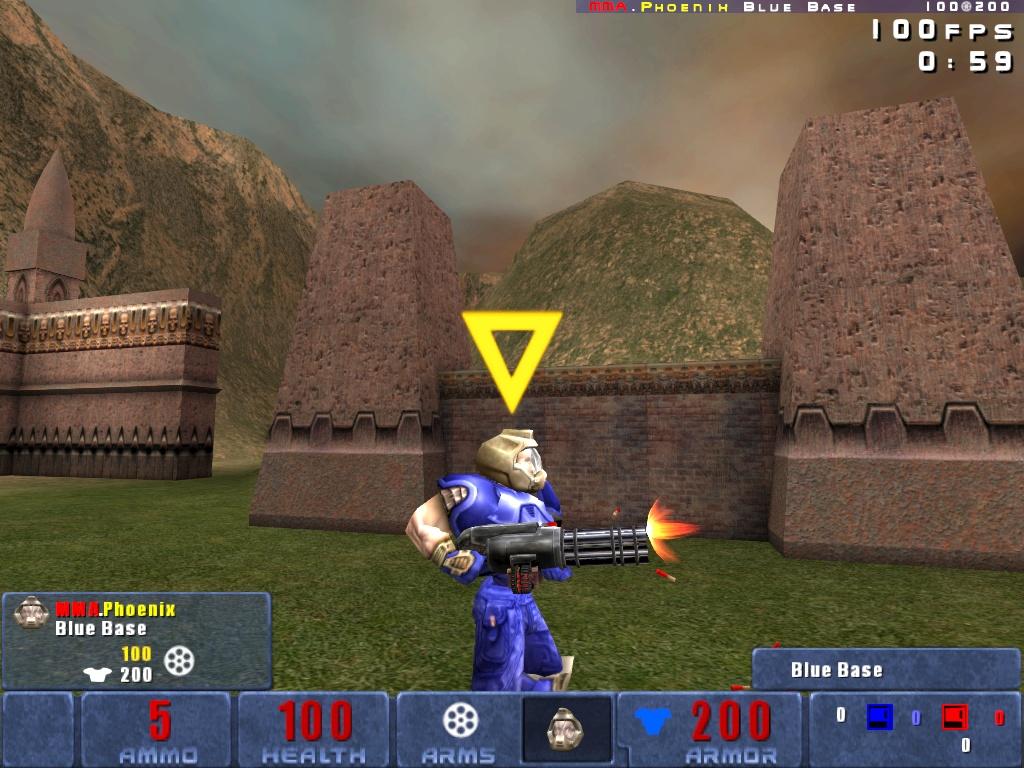 Heavy Chaingun being toted around by a Blue Doom Warrior.