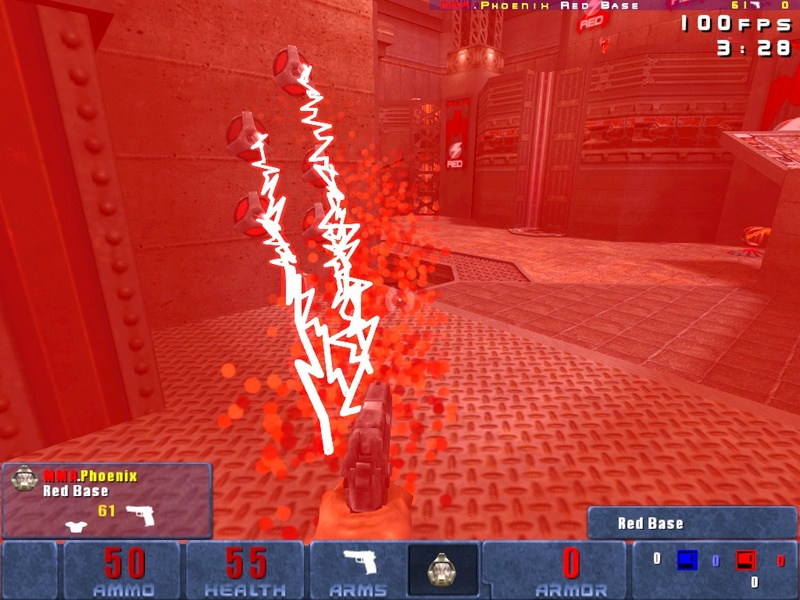 First-person view of what happens when a Blue player gets too close to Red Team's tesla mines.