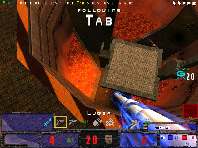 Tab grabs quad. Tab falls in lava. Tab quad mortar jumps out of the lava...and survives. Rock on Tab!