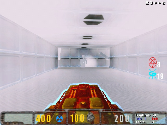 Doom invul, first-person view.