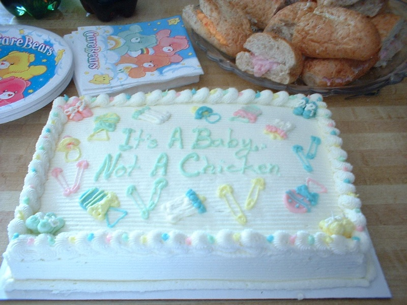 """When asked what sex the baby was, Gina always responded """"It's a chicken!"""". Hence, this cake."""